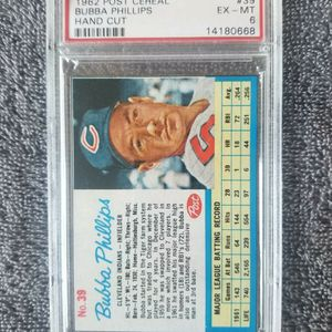 BUBBA PHILLIPS 1962 Post Cereal #39 PSA Graded Card EX-MT 6 MLB Indians for Sale in Chula Vista, CA