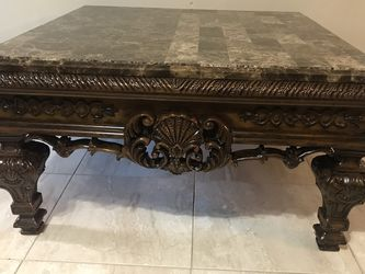 Marble Top Solid Wood Ashley Brand Coffee Table 400$ for Sale in Houston,  TX