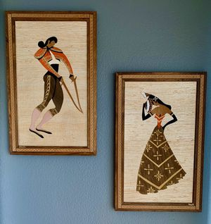 Stunning! 2 Gorgeous Mid Century Modern Ran Su Woven Grass Mixed-Media Framed Art Pieces for Sale in North Las Vegas, NV