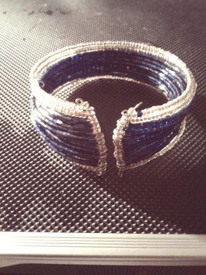 Blue & Silver Beaded Cuff Bracelet for Sale in Gainesville, FL