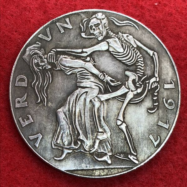 German Skeleton Art Coin. Tibetan Silver. First $20 Offer Automatically Accepted. Shipped Same Day