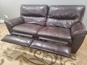 Brown leather couch recliner love seat for Sale in Phoenix, AZ