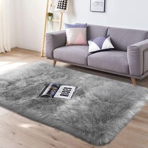Super Soft Faux Sheepskin Fur Area Rugs,3 x 5 Feet Rectangle Grey for Sale in Fremont, CA
