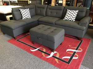 Brand New Charcoal Grey Linen Sectional Sofa Couch +Storage Ottoman for Sale in Silver Spring, MD