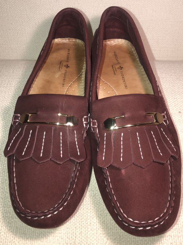 Mercanti Fiorentini Suede Loafers Gold Accents