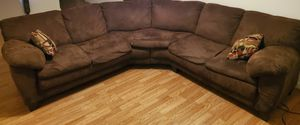 Brown, Microfiber Couch sectional for Sale in S CHESTERFLD, VA