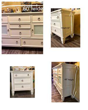 White Wood ASHLEY Bedroom Dresser & Nightstand set (2) for Sale in Overland Park, KS