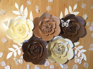 Brown Paper Flowers - 5 Piece - Wall Decor for Sale in Tacoma, WA