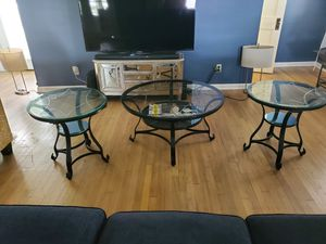 Stunning etched glass tables for Sale in Cleveland, OH