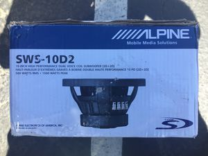 Alpine SWS-10D2 Subwoofer 10 inch, New, never used in open box for Sale in San Diego, CA