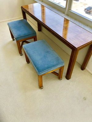 Beautiful Vintage Mid Century Console Table w/ 2 Rolling Stools for Sale in Fort Lauderdale, FL