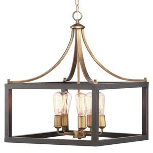 H.D.C. 5-Light Vintage Brass Chandelier with Painted Black Distressed Wood Accents for Sale in Dallas, TX