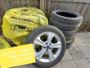 235/55 R 17 SEVEN GREAT tires bundle all season tires, rims & studs for Sale in Fort Dodge, IA
