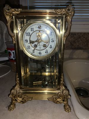 Antique gilded Brass clock for Sale in Lyman, SC