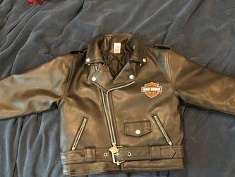 Harley Davidson Motorcycles faux leather Jacket Coat Size 7 Kids Black for Sale in Langhorne,  PA