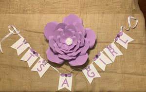 It's a girl boy party banner for baby gender reveal baby shower decoration lavender purple and white butterflies handmade paper flower for Sale in Paramount, CA