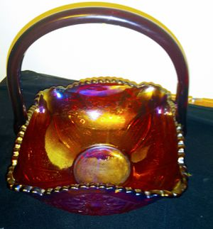 Vintage Red Carnival Glass Basket with Handle for Sale in Las Vegas, NV