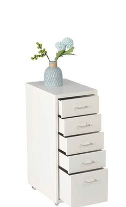 White Rolling File Cabinet. Metal Handles. for Sale in Rancho Cucamonga,  CA