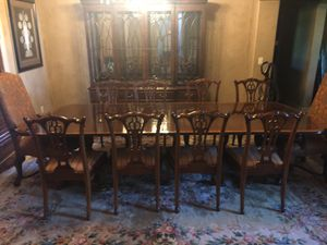 DINING ROOM SET WITH CHINA CABINET, TABLE, AND 10 CHAIRS for Sale in Bixby, OK