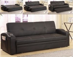 Sofa futon w/cupholders(faux leather) for Sale in Riverside, CA