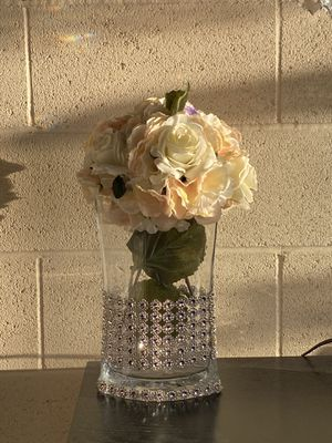 Flowers in vase clear with stones beautiful decor for Sale in Los Angeles, CA