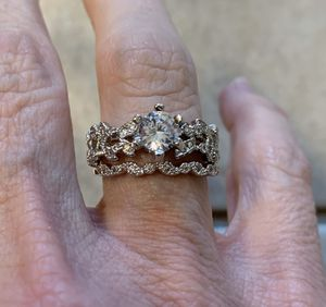 New 2 piece CZ sterling silver wedding ring size 7 for Sale in Inverness, IL