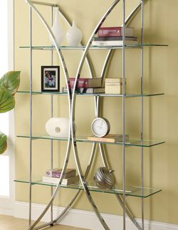 Coaster Contemporary 4-Tier Home Office Bookcase Shelf Chrome And Clear 910050 for Sale in Missouri City,  TX