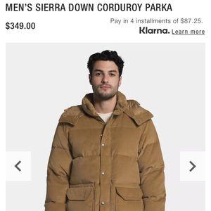 Northface Men's Sierra Down Corduroy Parka Size Large for Sale in Houston, TX