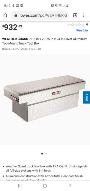 WEATHER GUARD71.5-in x 20.25-in x 24-in Silver Aluminum Top Mount Truck Tool Box for Sale in Malvern, PA
