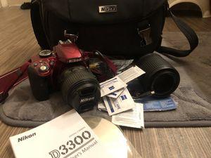 Nikon D3300 camera, 2 lenses, case, WiFi adapter for Sale in Las Vegas, NV