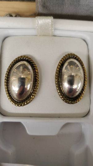 Oval earrings silver and gold for Sale in Highland Heights, OH