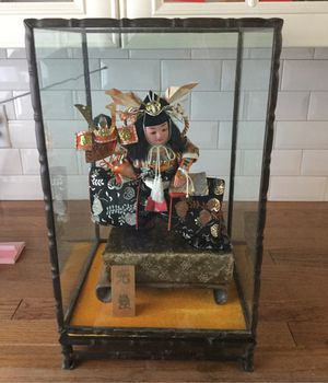 Japan antique doll great condition glass box dark wood and glass tall18 wide 11 around for Sale in Philadelphia, PA