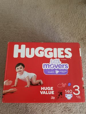 Huggies little movers diapers size 3, 140ct for Sale in Bala Cynwyd, PA