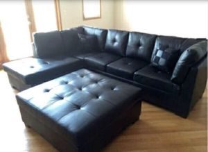 Black Leather Sectional Sofa Couch!! Brand New Free Delivery for Sale in Chicago, IL