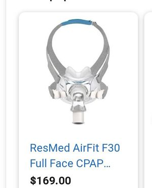 Resmed Full Face mask for mouth breathers less invasibe for Sale in Summerville, SC