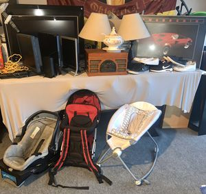 HDMI Tv, DVD player, modem, car seat, back pack, rocker, lamp, record player, shoes, ladle, frame... sold individually-send me an offer for Sale in San Diego, CA