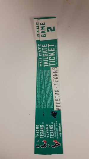 Texans & Panthers Tailgate passes $20ea. for Sale in Houston, TX