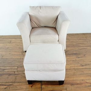 White Upholstered Armchair and Ottoman (1023639) for Sale in San Bruno, CA
