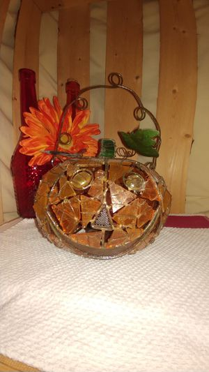 Stained Glass Pumpkin Tea Light Holder for Sale in Indianapolis, IN