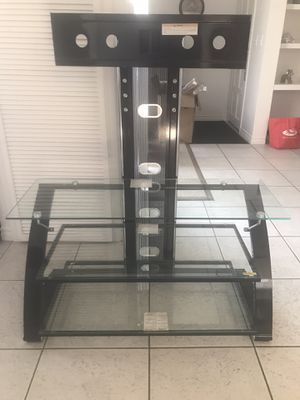 Tv stand two shelves glass for Sale in Las Vegas, NV