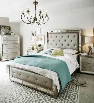 Brand NEW queen ava 4pc luxury mirrored bedroom set /REtails $4k! for Sale in San Ramon, CA
