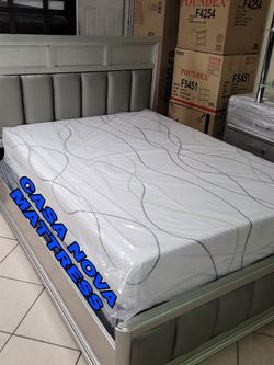 BRAND NEW BED FRAME QUEEN COMES IN BOX 📢📦MEMORY FOAM MATTRESS INCLUDED 📢⚡⚡SAME DAY DELIVER OR PICK UP 📢 for Sale in Carson,  CA