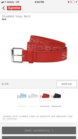 Red Supreme studded logo belt for Sale in Orlando, FL
