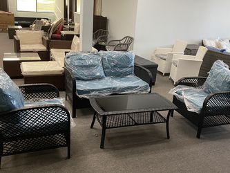 Brand New 4 PCs Wicker Patio Furniture Set Chair Sofa Table for Sale in Fullerton,  CA
