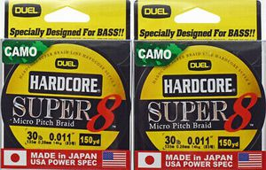 2 Duel Hardcore Super 8 Micro Pitch Braid 30 lb Camo 150 yds for baitcaster baitcast or spinning fishing reel for Sale in Glendale, AZ