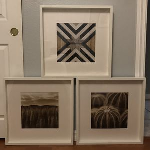 IKEA RIBBA Square Picture Frames with Prints Included (Set of 3) for Sale in San Marcos, CA