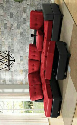 HOT DEAL] Heights Red/Black Reversible Sectional with Storage Ottoman & couch for Sale in Houston, TX