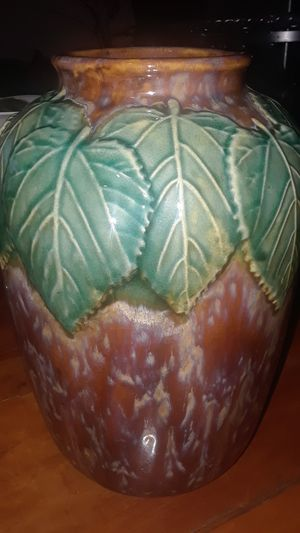 "11.5"" TALL CERAMIC VASE WITH LEAF DESIGNS for Sale in Stockton, CA"