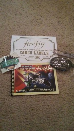 Firefly lot of 4- Serenity blueprints book, Exported sticker, luggage tag, and cargo label stickers for Sale in Westerville, OH