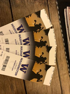 4 tickets to Oregon vs UW . Face value is $114 per ticket. Pick up in Tacoma Friday night or before 9 am. Can meet you in the south lot at for Sale in Tacoma, WA